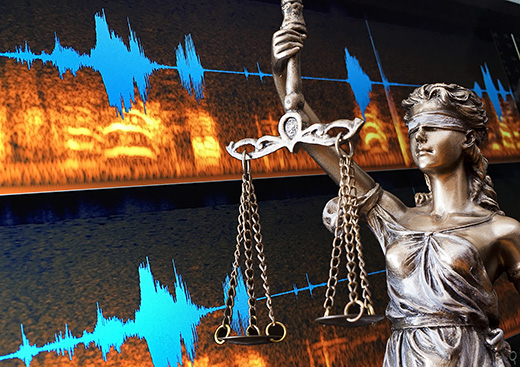 Lady of justice with audio forensics lab waveform